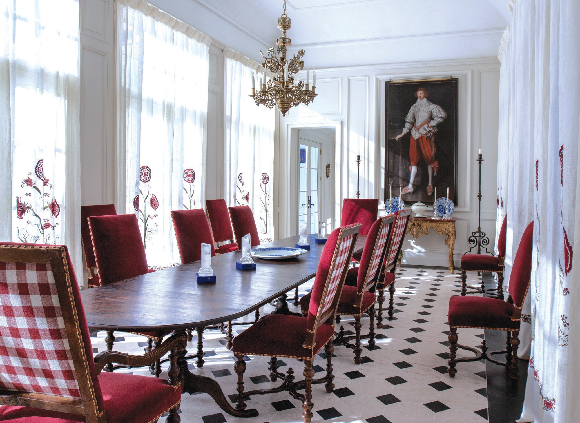 A dining room fit for royalty is right at home in this modern palace.
